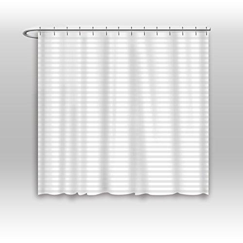 Hotel Wasser Schimmelresistent Stoff Duschvorhang liner-white Tonal Damast stripe-eco Freundlicher Polyester, Polyester, weiß, 84x72 (Lange Damast-duschvorhang)