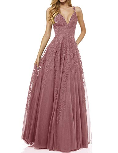 LuckyShe Damen Sexy V-Ausschnitt Abendkleider Ballkleid Elegant für Hochzeit Lang 2018 Altrosa Größe 38