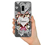 TULLUN Personalisierte Individuelle Marmor Herz Muster Initialen Name Text Custom Schutzhülle aus Hartplastik Handy Hülle für Samsung Galaxy - Graue Marmor Blumen - für Samsung Galaxy S7