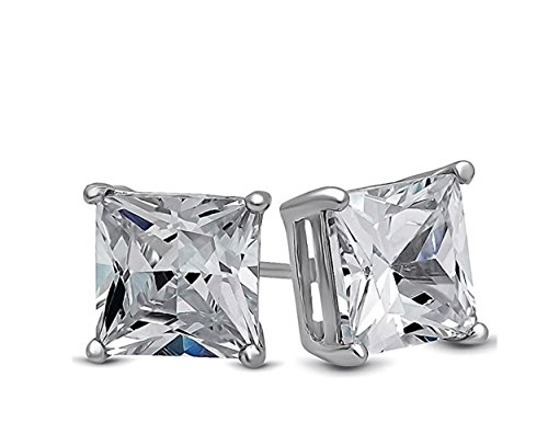 JEWELS Fashion Rvs 6 maten verkrijgbaar - Mand, vierkante Crystal Diamond & Silver Rhodium Plated Unisex heren tapeinden - Rvs Bei