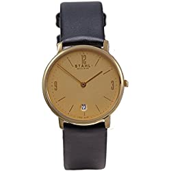 Stahl SWISS MADE Wrist Watch Model: ST61454 - Stainless Steel - Large 33mm Case - Arabic and Bar Gold Dial