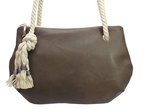 Braune Handtasche mit Kordel - 2