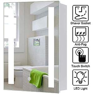 Lifelook LED Spiegelschrank Badspiegel Badschrank mit Beleuchtung Badspiegelschrank mit Dimmbarem Rechteckigem Licht, Steckdose, Demister-Pad, Berührung Sensorschalter(60x45)