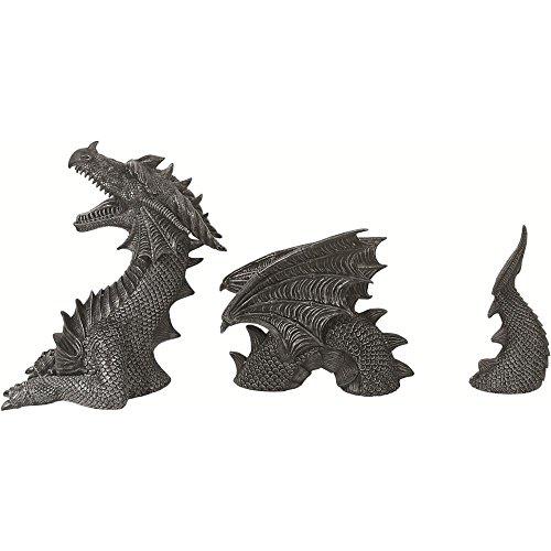 3- teilige Drachen Gartenfigur