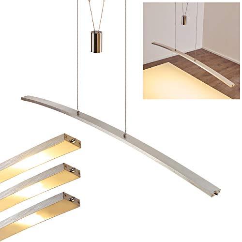 Höhenverstellbare Hängeleuchte Gramat, Dimmbar, Pendelleuchte LED 6 x 5 Watt, 380 Lumen mit Touch-Dimmer, Metall in Alu matt, 122cm lang, 3000 Kelvin, inkl. Stab-Pendel, Wohnzimmer-Leuchte