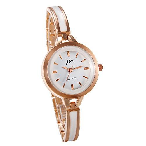 JewelryWe Damen Armbanduhr, Analog Quarz Elegant Charm Uhr Modisch Zeitloses Design mit Legierung Epoxy Armband Armreif Farbe: Rose Gold