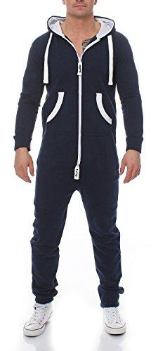Herren Jumpsuit Jogger Jogging Anzug Trainingsanzug Einteiler Overall 9t5 dunkelblau