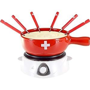 Service à fondue avec réchaud électrique - 8 pièces - rouge avec croix suisse