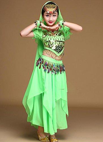 Kostüm Tanz Indien - Kinder Bauchtanz Mädchen Kostüme Indiens Tanz Kostüm Wettbewerbe Rose/gelb/rot/blau, l, Green