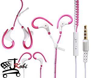 Dual Color Trendy Zipper Sports In-Ear Headset Earphones With Mic Compatible For Sony Xperia C5 Ultra -White With Pink