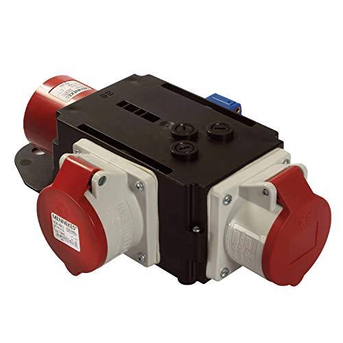 apter / Stromverteiler RUHR - CEE-Stecker auf 2 CEE-Steckdosen und 1 Schuko Steckdose - Robuster Baustellen Starkstrom-Verteiler - IP44 - Made in EU I 60833 ()