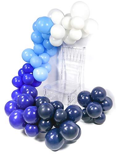 PuTwo Ballons Blau, 90 Stück 12 Zoll Satz von Hellblaue Luftballons Luftballons Dunkelblau Marineblau Luftballons Luftballons Royal Blau Luftballons Weiß für Pool Party, Frozen Party, Cinderella Party (Royal Latex-luftballons Blau)
