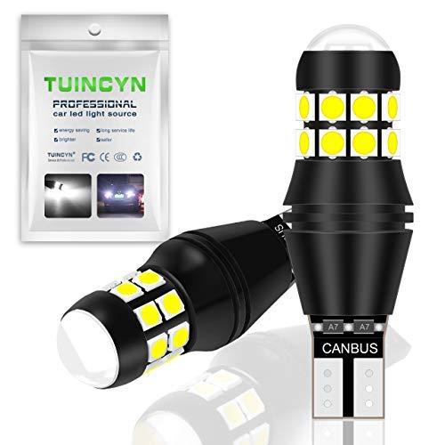 TUINCYN T15 W16W Ampoule LED CANBUS 3030 20 SMD LED de recul 2000 LM extrêmement Lumineuse 912 921 LED Cale de stationnement Blanc 6500 K (Lot de 2)