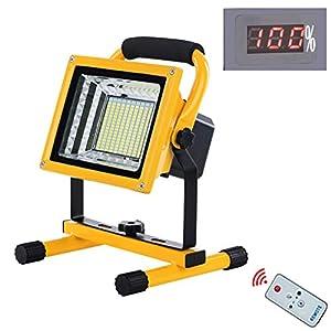 Foco LED Reflector Ultra Brillante 500W, Luz de Trabajo Portátil Recargable 9000LM con control remoto, 6 modos de luz, Batería 15600mAh, IP65 Impermeable para Exploración Garaje Camping