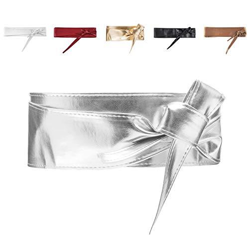 MForshop Cinta cintura donna fusciacca fascia cinturone colori vari nodo eco pelle 00945