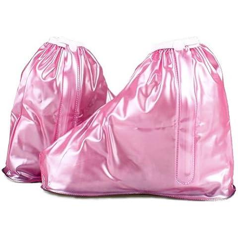Pioggia e neve con cerniera impermeabile riutilizzabile, in PVC, antiscivolo resistente all' usura pieghevole antipioggia bambini ragazze scarpe cover XL:Suitable size 1.5-3 pink