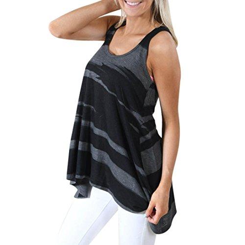 Damen Blusen Ronamick Frau Beiläufiges Ärmelloses Camouflage Crop Top Weste Tank Shirt Bluse Cami Top (Schwarz, XL) (Baseball-baumwolle Top Tank)