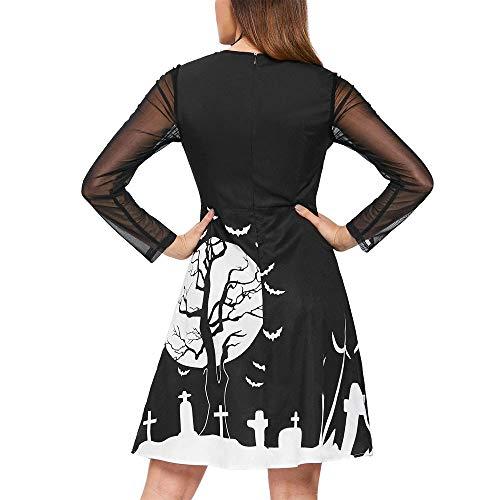 Deman outfit-Artistic9 Damen Spitze Langarm Midi Kleider Halloween Sexy Mesh Sheer Langes Kleid Schlüsselloch Lose A-Linie Ausgestelltes Swing Kleid Thema Party - Arm Candy Kostüm