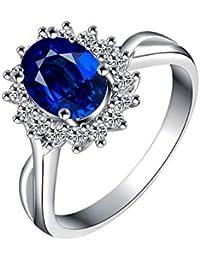 3bf5c5da90f7 Epinki 18K Oro Blanco Anillo 0.6-1.1CT Ovalada Zafiro Diamante Anillo para  Matrimonio Compromiso