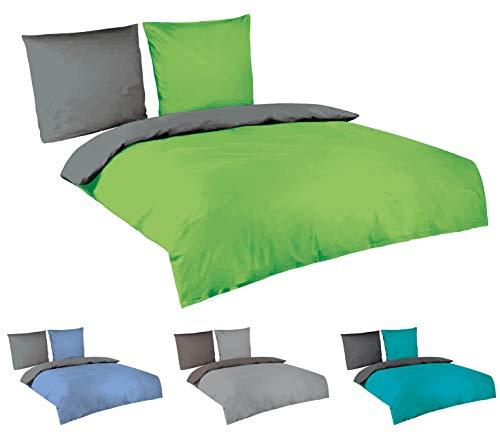 Baumwolle Bettwäsche Uni Wende 3tlg Set 200x220 cm 2X 80x80 cm anthrazit grün