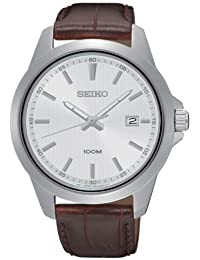 Seiko sur175Hombres Dial de plata banda de acero inoxidable correa de cuero marrón del reloj