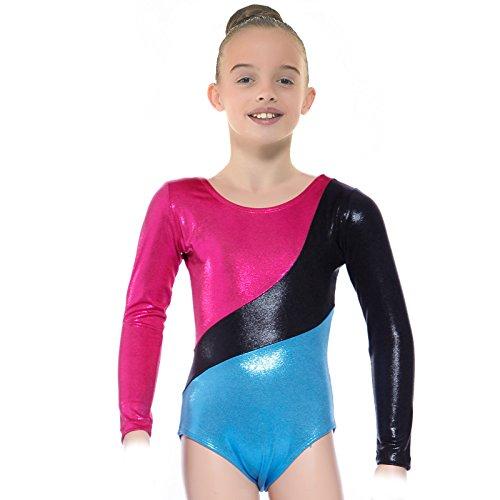 Anladia Mädchen Turnanzug Langarm Gymnastikanzug Übungsanzug Gymnastikanzug Turnanzug Balletanzug Sport Body Ballett