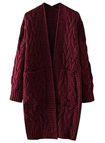 Futurino Women's Twist School Wear Open Front Longline Knit Jumper Sweater Cardigan OneSize