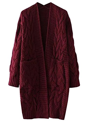 Futurino Damen Winter/Herbst Twist Lässige Casual Offener Lang Knitwear Pullover Cardigan Mantel OneSize Rot