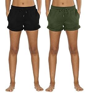 icyzone Damen Sweatshorts 2er Pack Kurze Sporthose Gym Fitness Shorts