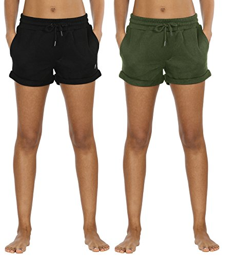 icyzone Sweatshorts Kurze Sporthose Damen - Gym Hot Pants Jogger Yoga Kurz Hose Sport Shorts (L,Black/Green) Damen Sweatshorts 2er Pack Kurze Sporthose Gym Fitness Shorts (Green-yoga-hosen)