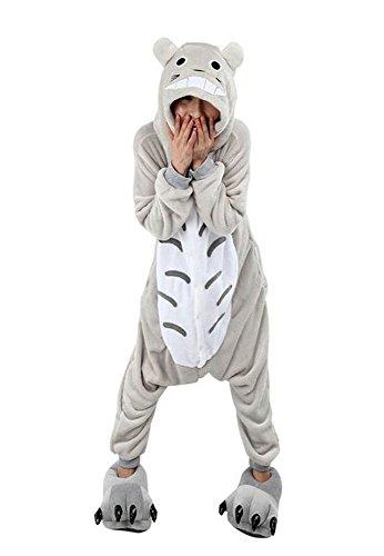 Totoro Kigurumi Kostüm - Warmes Unisex-Karnevals-Kostüm für Kinder, Einhorn Eule Zebra Giraffe Kuh, für Halloween Fest Party, als Pyjama, Tier-Kigurumi-Kostüm für Zoo-Cosplay, Einteiler - Small - Totoro