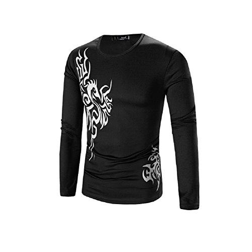 BOMOVO Herren T-Shirt Henley Slim Fit Drucken Sport Langarm Shirt Schwarz