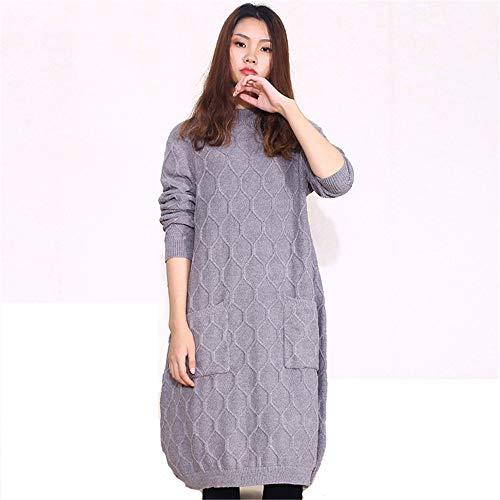 Wuxingqing Vintage Swing Partykleid für Damen Plus Size - Langärmliges Kleid mit Rundhalsausschnitt Strickwaren Kleider Shopping Travel Damen Abendkleid (Farbe : ()