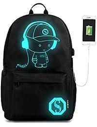 Bolsa de Hombro, Gracosy Mochila del muchacho de la muchacha Noctilucent Cartoon School Bolsas Mochila Para Estudiantes Ordenador portátil del bolso de la escuela con Usb Cargador para niños