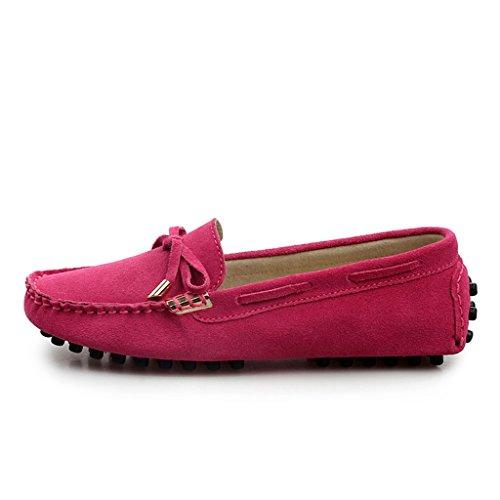 Minitoo femmes Chaussettes à orteils arrondis en métal fin de conduite de bateaux Loafers en daim plates pour chaussures Rose - rose