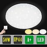 VINGO 3in1 LED Deckenleuchte 50W Sternenhimmel Deckenlampe Mordern Wohnzimmer 450 * 95mm Deckenbeleuchtung Badezimmer geeignet