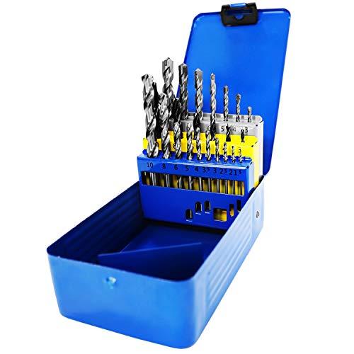 S&R Bohrer-Set 23 tlg: 6 Holzbohrer 3, 4, 5, 6, 8, 10mm, 10 Metalbohrer 1.5, 2, 2.5, 3, 3.5, 4, 5, 6, 8, 10 mm HSS M2 steel, 7 Betonbohrer/Steibohrer 3, 4, 5, 6, 8, 10, 12 mm in Metallbox