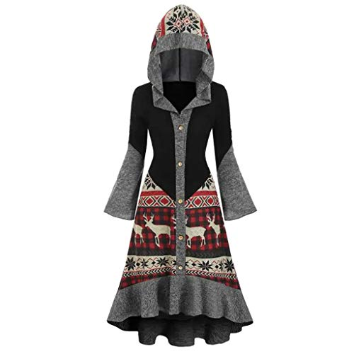 INLLADDY Damen Kleid Weihnachten Elch Print Kapuzenrock Mantel Top Kleid Weihnachten Kostüm Cosplay Schwarz S