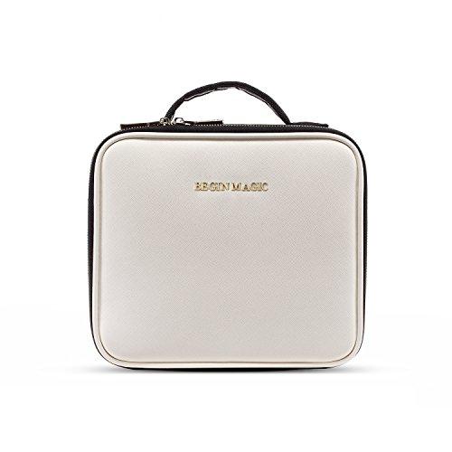 Begin magic beauty case, borsa cosmetica portatile professionale per trucco per viaggio, artisti bagaglio spazzole borsa bagagliaio organizer tool con divisori regolabili, bianco e nero