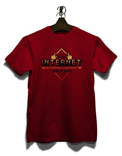 Internet Destroying Productivity T-Shirt Bordeaux