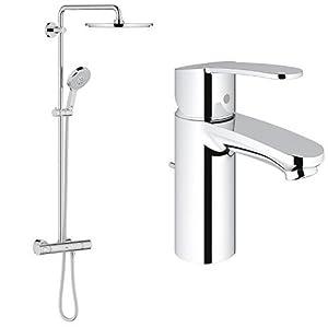 Grohe Rainshower System 310 – Sistema de ducha con termostato incorporado + Eurostyle Cosmopolitan – Monomando de lavabo 1/2″ (con función de ahorro de agua)
