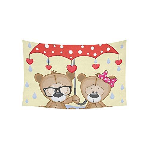 JOCHUAN Tapisserie Grußkarte Zwei Teddybären Regenschirm Wandteppiche Wandbehang Blume psychedelischen Wandteppich Wandbehang indischen Wohnheim Dekor für Wohnzimmer Schlafzimmer 60 X 40 Zoll