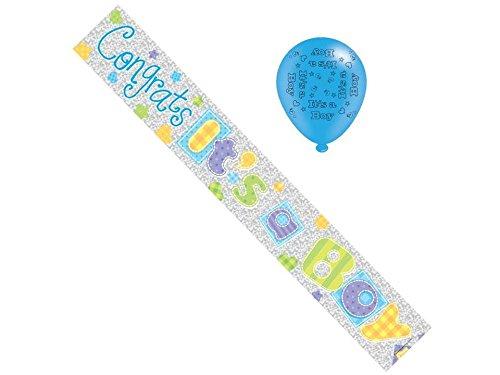 Cards Galore New Baby Boy Folie Party Banner & Luftballons-IT 'S A BOY (Luftballons Baby Dusche Boy)