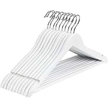 songmics 445 cm set of 20 solid wooden clothes hangers with trouser bar and 2 grooves white crw03w20