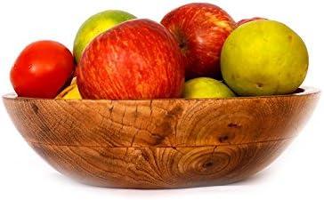 Indus Valley Wooden Mixing & Serving Bowl - Suitable for Fruits, Salad, POP-Corn, Snacks (Mango Wood | 10 inch Diameter)