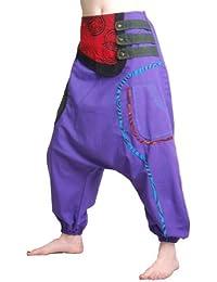 Bunte Hippie Goa Hose Aladinhose Patchwork Haremshose Lila