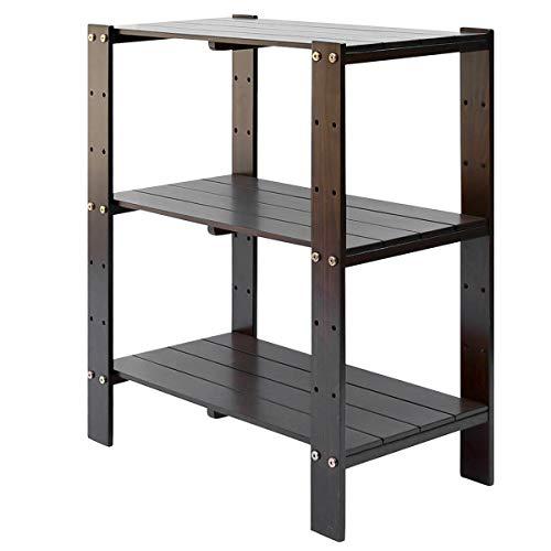 gal Holz, Buche 3-Stöckiges, Regal verstellbar, Für Küche, Schlafzimmer, Wohnzimmer, Badezimmer, ca.61 * 31 * 71 cm (Braun) ()