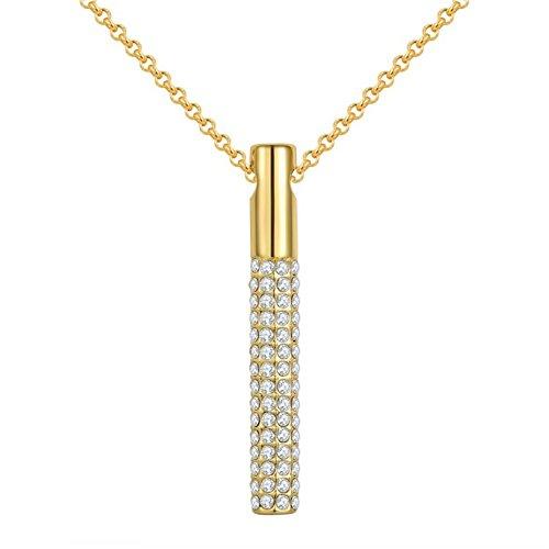 Da donna 45+ 6Charm e cristalli Fashion placcato oro 18pavimentazione V Collare Collane, Oro giallo, cod.