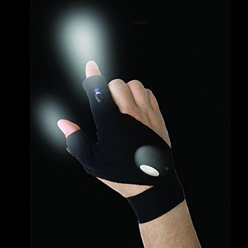 Preisvergleich Produktbild LED-Handschuhtaschenlampe,  toll zum Angeln / Radfahren / Wandern / Reparaturen / Mechanik / Klempnerarbeiten / Elektriker / Gartenarbeit / Haushaltszubehör / Notfälle,  inklusive Batterien