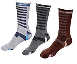 Indiweaves Mens Cotton Socks (Pack of 3 Socks)-Grey/Grey/Brown